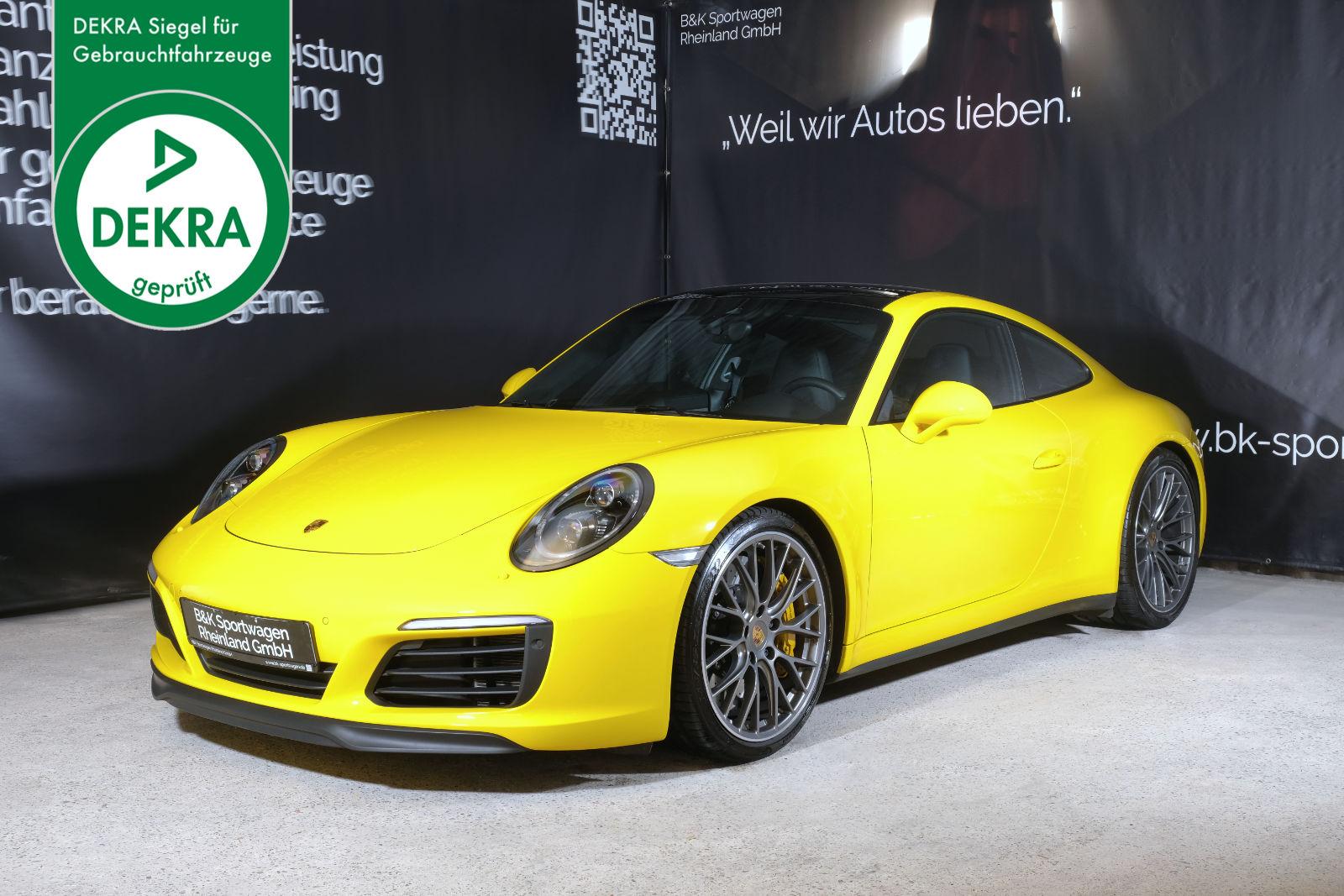 Porsche_991.2_C4S_Gelb_Schwarz_POR-2443_Plakette_w